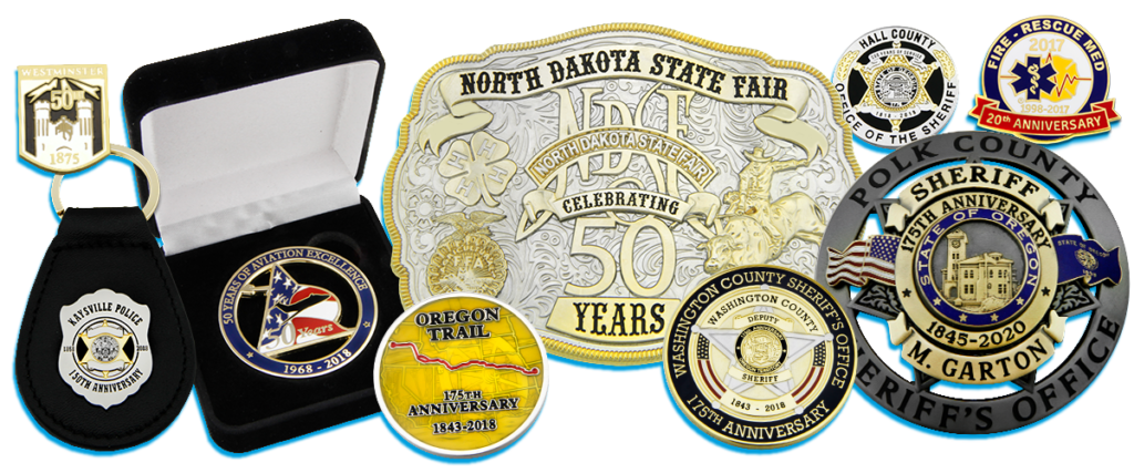 Collage of Anniversary products including key fobs, belt buckles, pins, coins and badges.