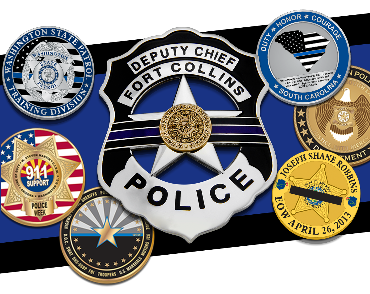 National Police Week themed badges and coins.